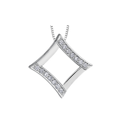 White Gold Open Square Pendant With Diamonds