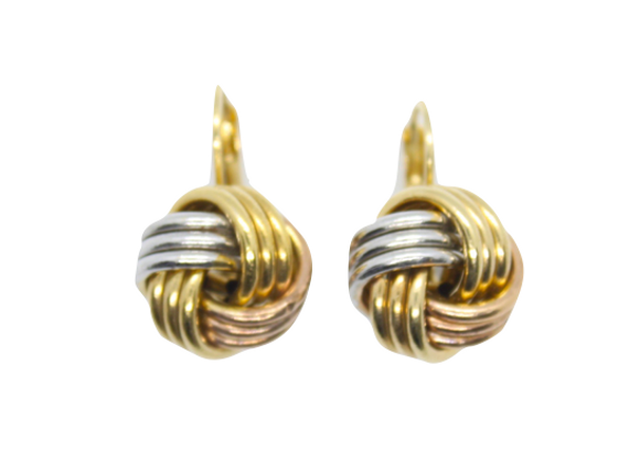 Triple Tone Gold Knot Earrings