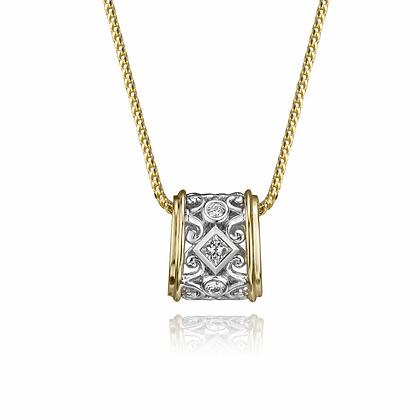 Two Tone Filagree Diamond Pendant