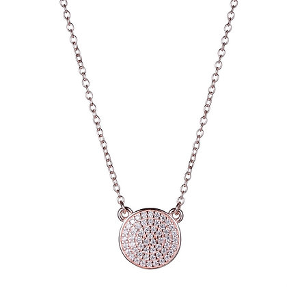 Rose Gold Plated Round Stationed CZ Necklace