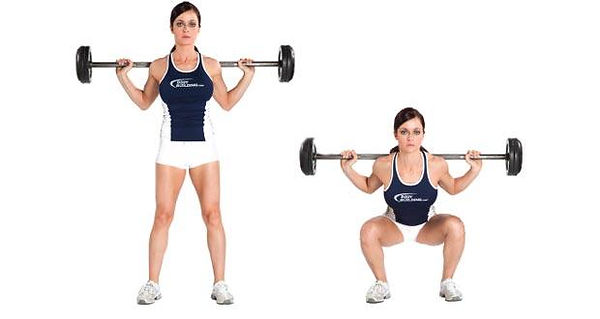 Female personal fitness trainer showing how to do the barbell squat properly diagram