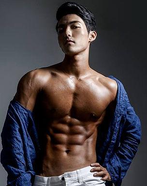 Muscular hardgainer hunk fitness model