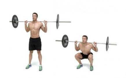 Demonstration of executing the barbell squat chart