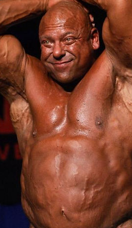 Bodybuilder with an extended tummy because of steroid use