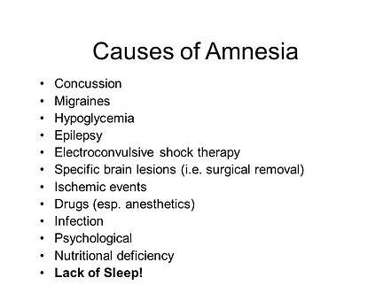 Causes of amnesia diagram