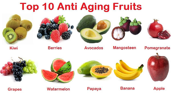 10 anti-aging fruits to reduce wrinkles diagram