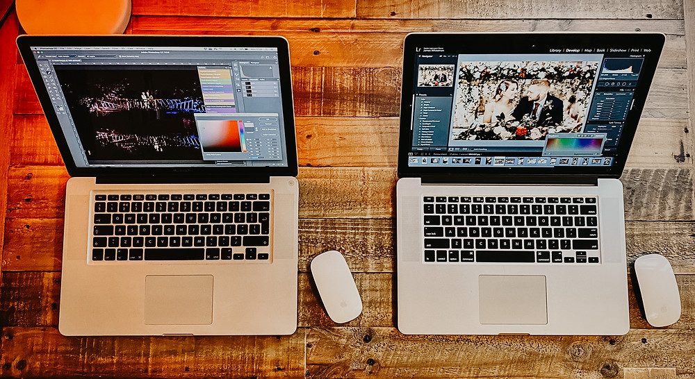 a pair of Apple Macbook pros used by October James Photography to edit and airbrush client's wedding photos