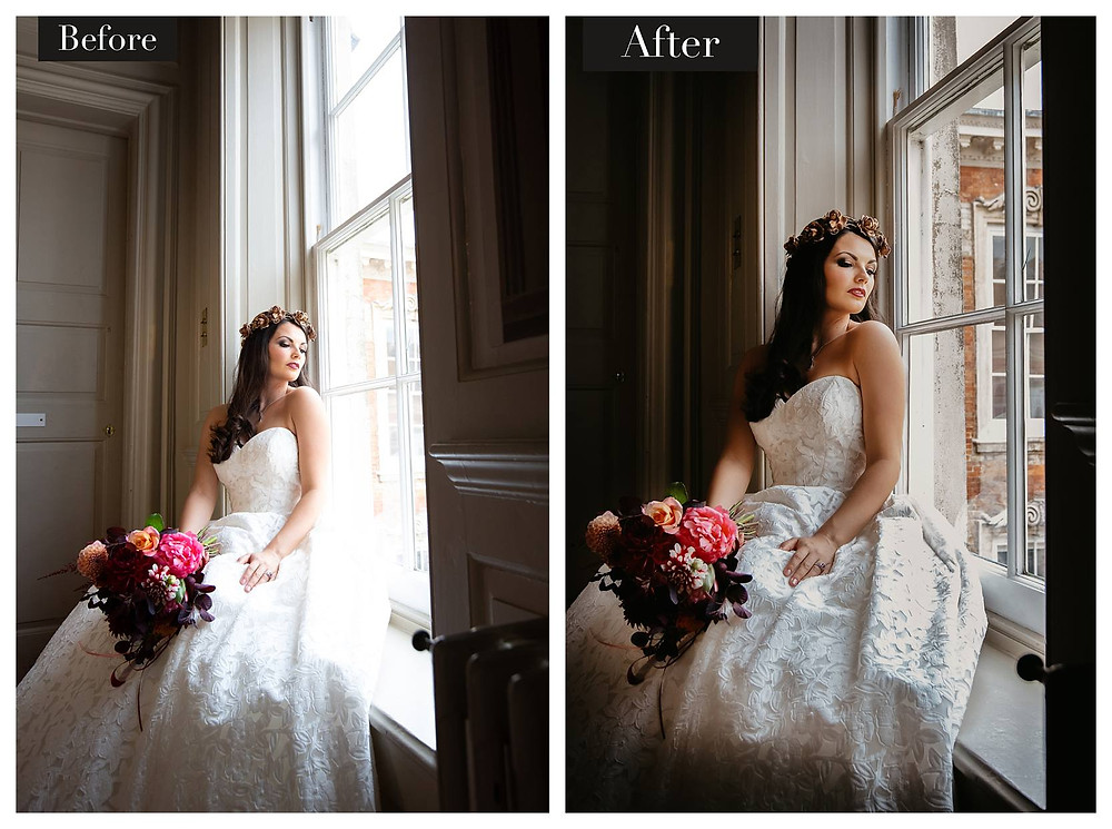 A bride sitting in the window at Kimbolton Castle