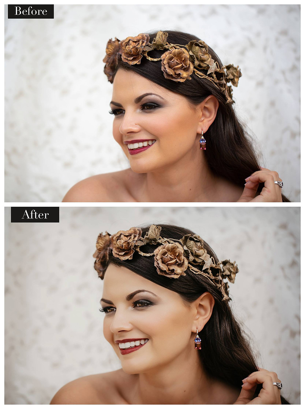 Bride before and after airbrushing