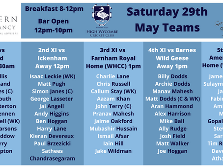 Saturday 29th May Team News and Fixtures