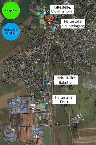 Übersicht Parplätze / Shuttlebus