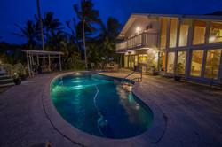 Illuminated evening pool