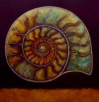 "'Ammonite Burgundy and Gold' 24"" x 24"".j"