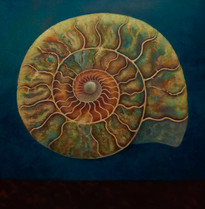 'Ammonite Green and Gold' 80cm x 80cm SOLD
