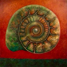 'Green and Red Ammonite'