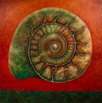 'Green and Red Ammonite' SOLD