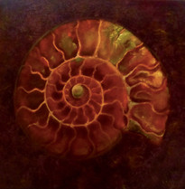 Red Gold Ammonite. SOLD