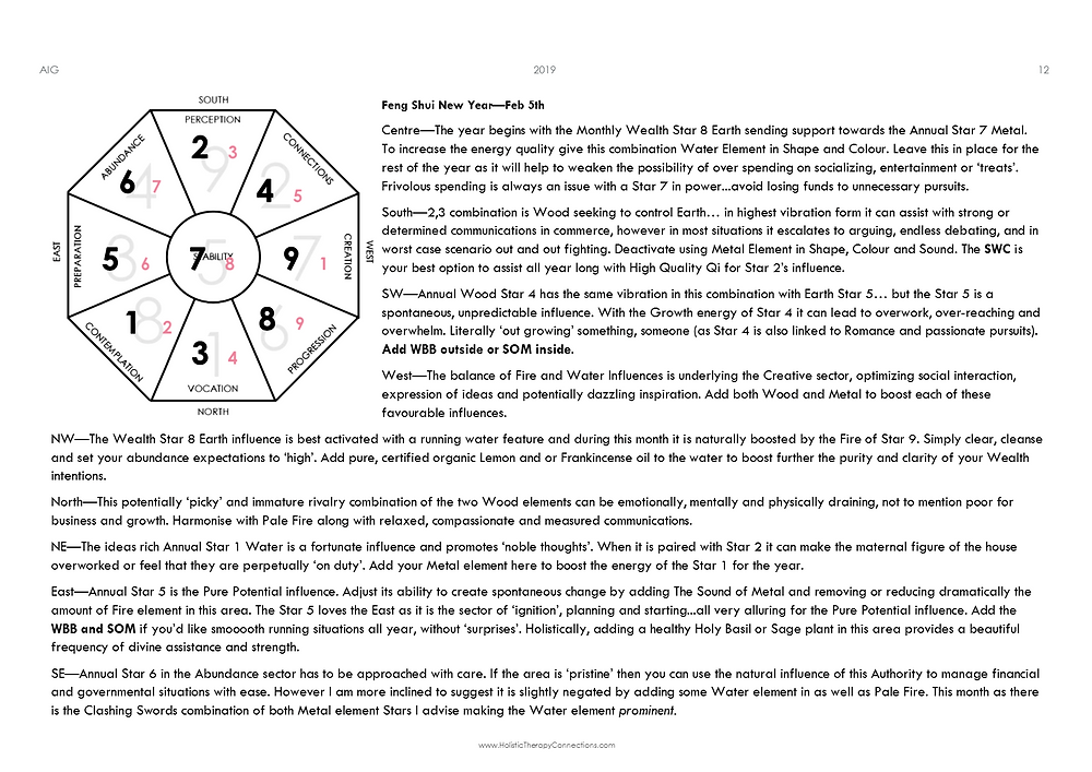 Feng Shui Forecast Chart with Summary - February 2020