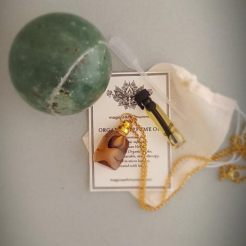 Cloudy Ocean Jasper Personal Diffuser Pendant Perfume Gift Set