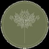 Circle Lotus Icon Vector olive green