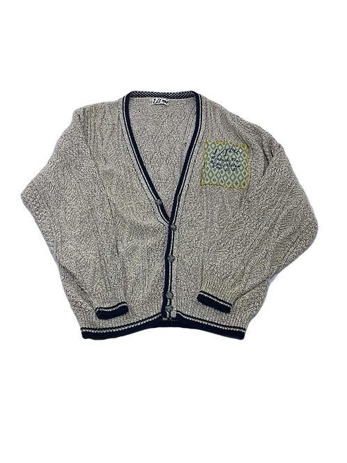 Knit Carrdigan With Embroidered Logo Patch