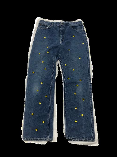Floral Button Detailed Jeans
