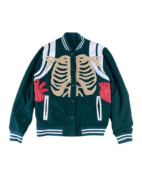 Green skeleton varsity jacket