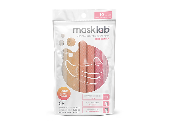 Junior Masklab Malibu Sunset Masks ASTM Level 3 (10-pack)