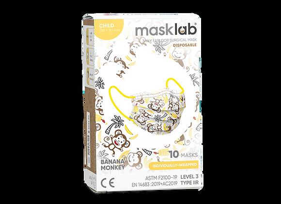 Kids Masklab Banana Monkey Masks ASTM Level 3 (10-pack)