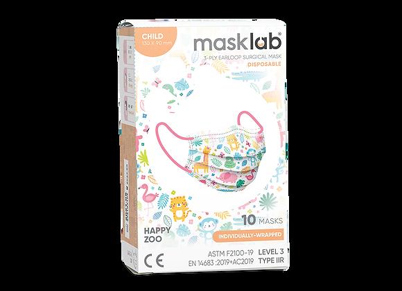 Kids Masklab Happy Zoo Masks ASTM Level 3 (10-pack)