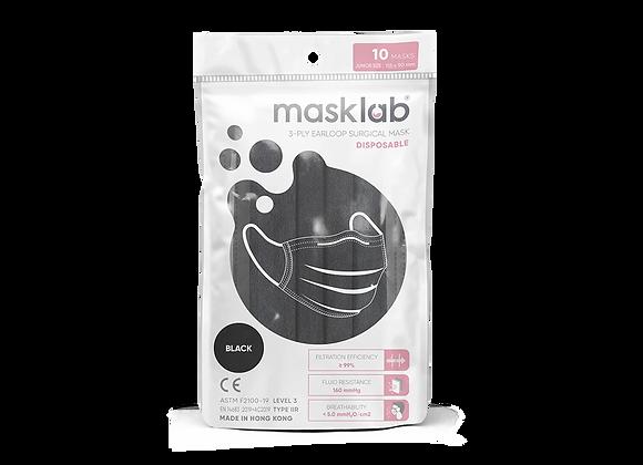 Junior Masklab Black Masks ASTM Level 3 (10-pack)
