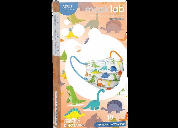 Adult Masklab Friendly Dinosaurs Masks ASTM Level 3 (10-pack)