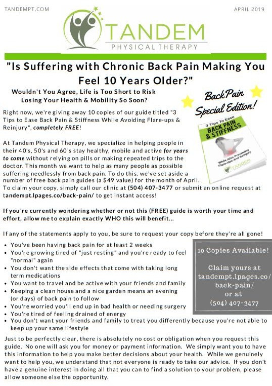 April Newsletter - Back Pain Edition