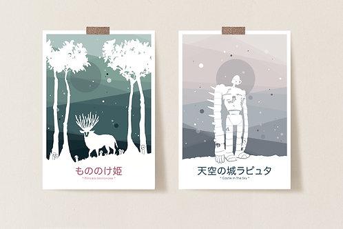 Set 2 Ghibli Postkarten // Set of 2 Ghibli postcards