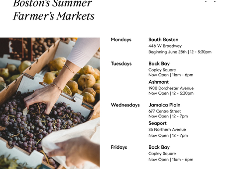 Farmer's markets in and around Boston