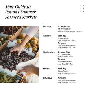 A schedule of farmer's markets in and around Boston
