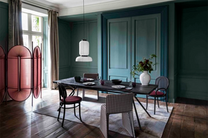room with dark green paint
