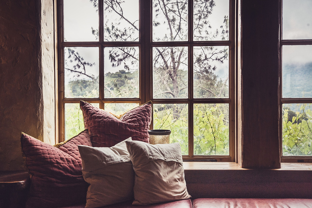Window seat with comfy pillows