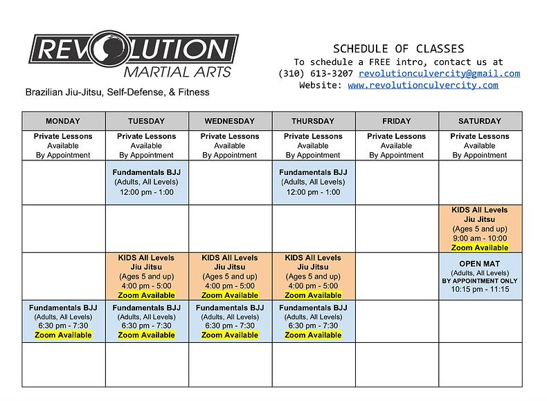 Revolution Schedule Jiu Jitsu Culver Cit