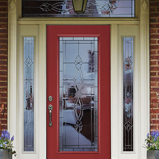Masonite Red Front Door with Side Lights