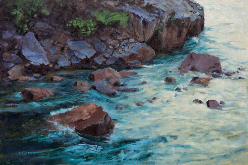oil painting richard smith on the rocks