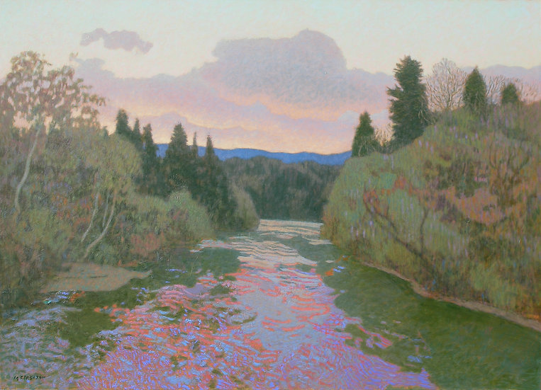 Michael Ferguson Acrylic Painting From The Middle Fork Bridge