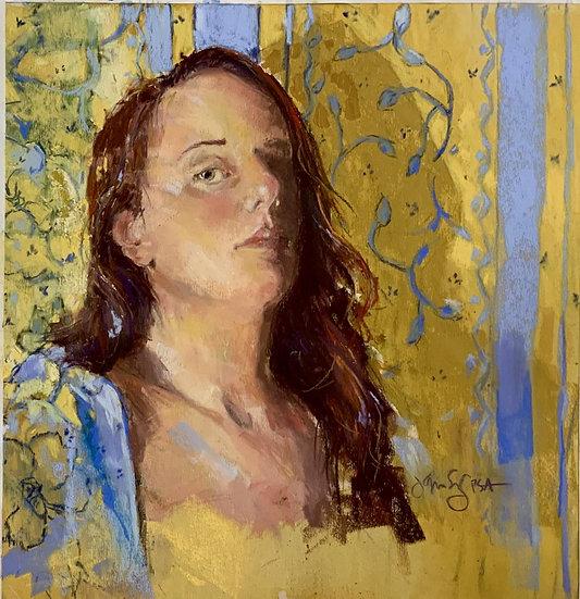 Pastel Jeri greenberg yellow robe and wallpaper