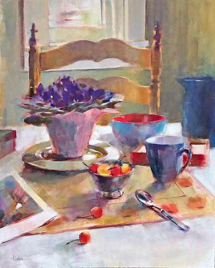 oil painting kitchen table Barbara Benedetti-Newton