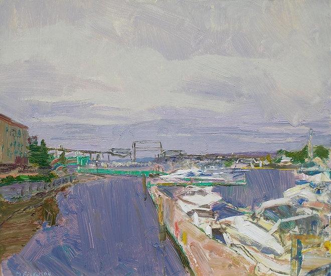 Michael Ferguson Oil Painting Marina with 11th St bridge