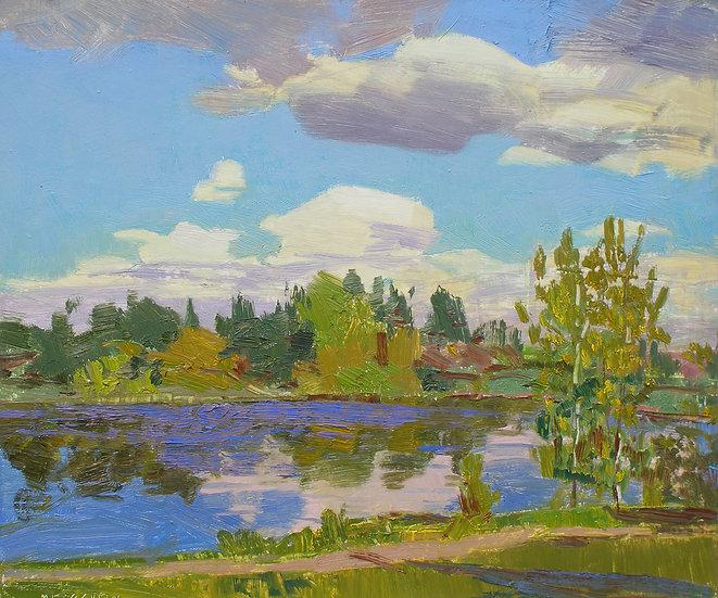 Michael Ferguson Oil Painting Chunky Wapato Lake Clouds