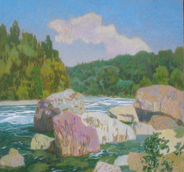 Michael Ferguson Acrylic Painting Skykomish Boulders