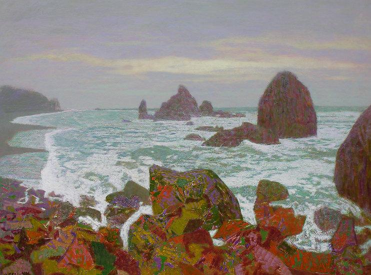 Michael Ferguson Acrylic Painting North Coast Rocks