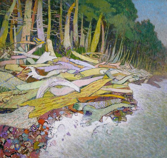 Michael Ferguson Acrylic Painting Rialto Logs I