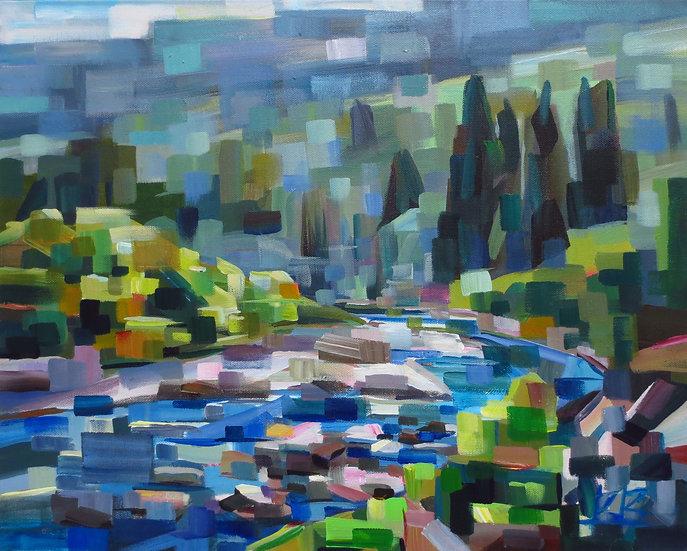 acrylic painting rocky river Brooke Borcherding